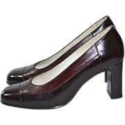 SALE Ricaly ~ Chocolate Brown Two-Tone Leather Heels