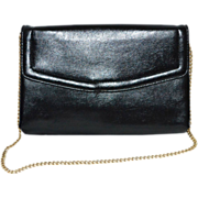 SALE 1960s Harry Levine Black Leather Clutch/Chain Purse