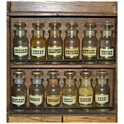 SALE 1970s Set of 12 Apothecary Glass Spice Jars w/ Original Wood Cabinet