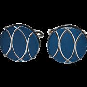 SALE Swank ~ Navy Blue & Chrome Silvertone Cufflinks
