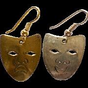 SALE Comedy & Tragedy Brass/Silvertone Pierced Dangle Earrings