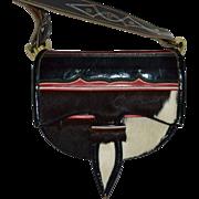 SALE 1970s Handcrafted Leather Pony Hair Southwestern Shoulder Purse/Messenger Bag