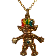 SALE Enamel Rainbow Hair Troll Charm/Pendant Necklace
