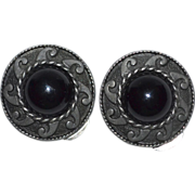 SALE Large Mexican Style Black Glass Cabochon Clip Earrings