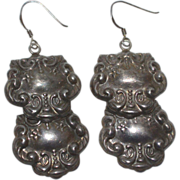 SALE Sterling Repousse Luggage Tag Style Earrings
