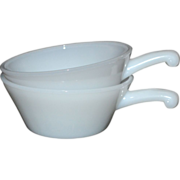 SOLD Anchor Hocking Fire King Set of 2 Milk Glass Soup Bowls w/ French Handles