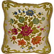 SALE Aubusson Style Tapestry Chenille Rose Pillow