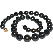 SALE 14K Gold Clasp Faux Black Tahitian Graduated Pearl Necklace