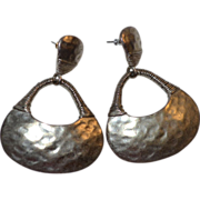 SALE C. Stein Signed Huge Hammered Doorknocker Style Silvertone Earrings