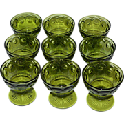 Set of 9 Indiana Glass Thumbprint Dessert or Ice Cream Green Glass Stemware