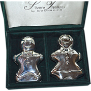 SALE Godinger Silver Plated Gingerbread Boy & Girl Salt/Pepper Shaker in Presentation Box
