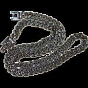 1960s Coro Signed Heavy Silvertone Link Chain Necklace