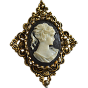 SALE Gerry's Signed Ornate Cameo Antiqued Goldtone Pendant or Brooch/Pin