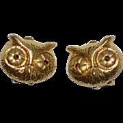 SALE 1970s Liz Claiborne Rhinestone Eye Owl Clip Earrings
