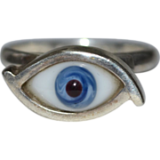 SALE Taxco Mexico Sterling Blue Glass Evil Eye Talisman Ring ~ Size 7 3/4