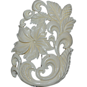 SALE Large Carved Faux Ivory Flower Scrollwork Brooch/Pin