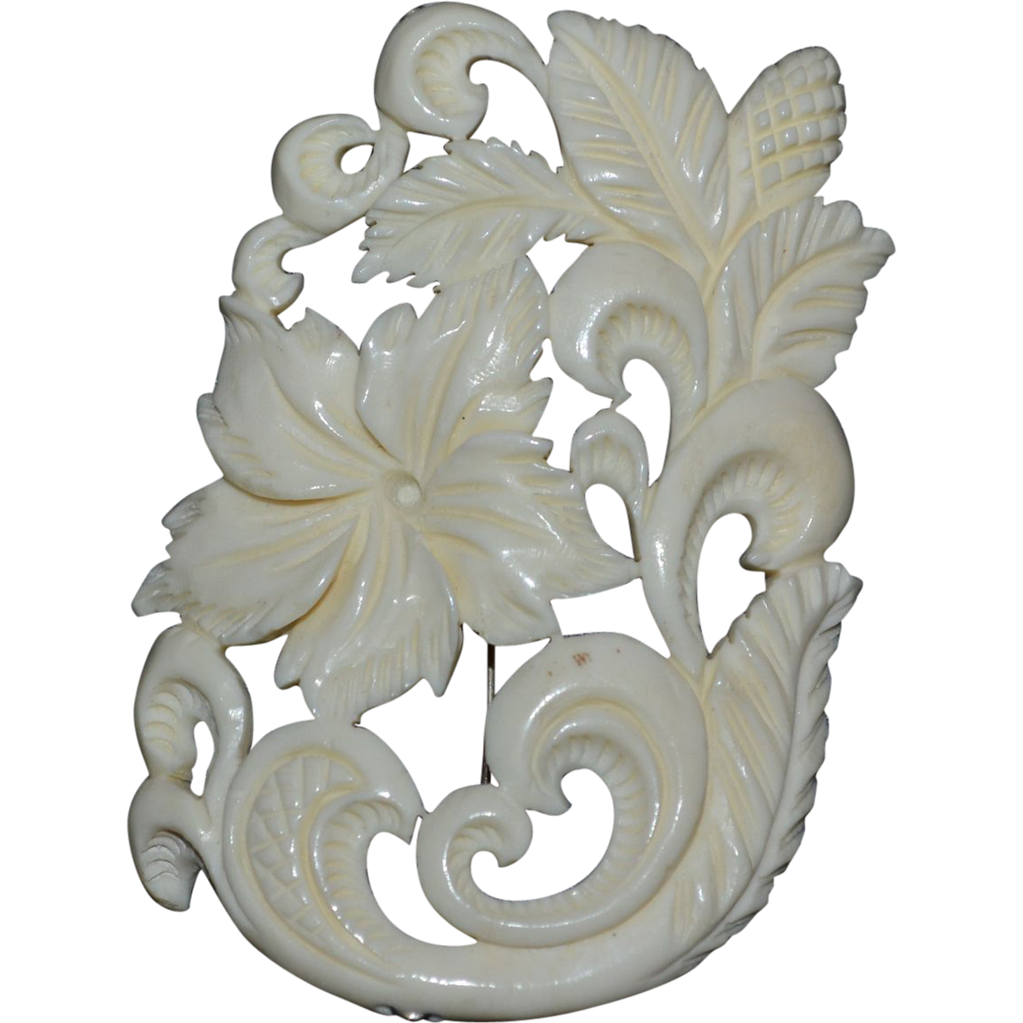 Large Carved Faux Ivory Flower Scrollwork Brooch/Pin from ...