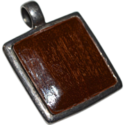SALE Large Sterling Silver Artisan Made Square Wood Pendant