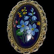 SALE Large Handpainted Forget-Me-Not Flower Black Porcelain Filigree Mourning Brooch/Pin