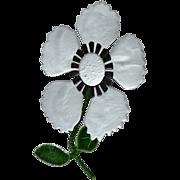 """SALE Huge 5"""" Gray Enamel 3-D Stemmed Flower Brooch/Pin"""