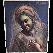 SALE 20th C Listed Artist Jaime de Jaraiz Gypsy 'Gitana' Woman Wearing Translucent Veil Scarf