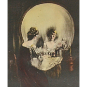 SOLD Early 1900s Original C. Allan Gilbert ALL IS VANITY Lady & Skull Memento Mori Framed
