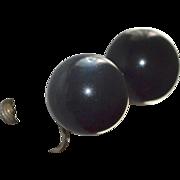 SALE Gigantic Black Moonglow Lucite Clip Screwback Earrings