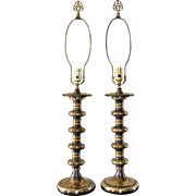 SALE Moody Pair of Burnished Brass Spindle Lamps w/ Finials