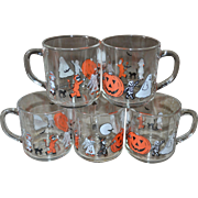 SOLD Luminarc Set of 5 Spooky Halloween Glass Cups or Mugs