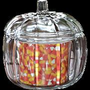 SOLD Anchor Hocking Ribbed Glass Fall Pumpkin Jar w/ Lid & Insert