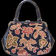 SALE 1960s Dove Signed Big Black Tapestry Carpet Style Handbag Purse