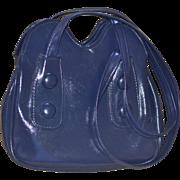SALE 1960s Big Button Navy Blue Faux Leather Mod Style Purse