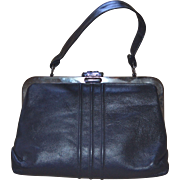 SALE 1960s Margold Signed Black Leather Gunmetal Frame & Clasp Handbag Purse