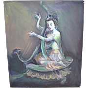 SALE Original Signed Guan Yin 'Goddess of Mercy' Playing Harp Asian Deity Oil Painting