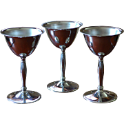 Art Deco Set of 3 Chrome Stainless Cordial Pedestal Glasses