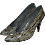 SALE Charles Jourdan Gray/Black Snakeskin Leather Classic Pumps / Heels