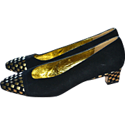 SALE Donald J. Pliner Black Suede & Metallic Gold Leather Low Heel Pumps ~ Size 6 ...