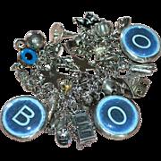 SALE Incredible Chunky Sterling BOO! Halloween Charm Bracelet LOADED 32 Charms on Elco Bracele