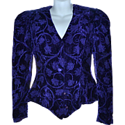 SALE 1980s Lillie Rubin Purple Velvet Leaf & Vine Brocade Lined Blazer Jacket