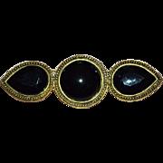 SALE Carol Dauplaise Large Black Glass Brooch/Pin