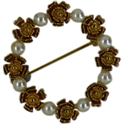 REDUCED Round Dainty Cultured Pearl Gold Brooch ……….