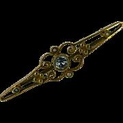 REDUCED English Aquamarine & Pearl Gold Brooch