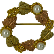 """Black - Hills Gold"" Pearl Brooch"