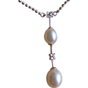 REDUCED Wonderful fresh Water Cultured Pearl & Diamond Drop 18k Necklace