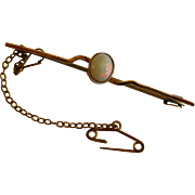 Harlequin Oval Opal Gold Brooch