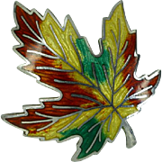 Silver Canadian Enamel Maple Leaf Brooch