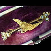 """15 k  Antique Gold """"Stork"""" Bird Brooch"""