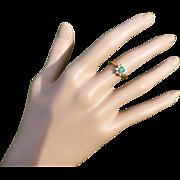 REDUCED Elegant Emerald & Diamond 18k Cluster Ring.