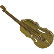 English Hallmarked Gold VIOLIN Brooch