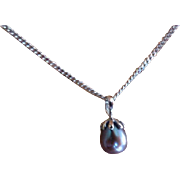 REDUCED Drop shaped Black Pearl Necklace